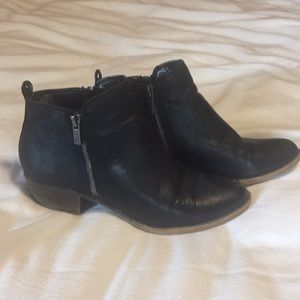 Lucky Brand Leather Booties Size 8 Black